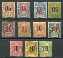 RC 11539 MAYOTTE N° 21 / 11 - GROUPE SURCHARGÉS SERIE COMPLETE COTE 32€ NEUF ** TB - Mayotte (1892-2011)