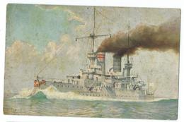 CPA Bateau Navire De Guerre Cuirassé Deutsches Linienschiff Kaiser Barbarossa 1900 - Guerre
