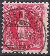 13 Vertikalzähne KZ II 1902: Zu 75D Mi 70C Yv ?? - 1 Fr Karmin Mit Voll-o SCHÖNENGRUND 20.XII.06 (Zu CHF 13.00) - Oblitérés