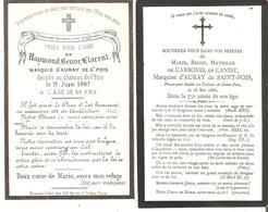 F-P De Marie De CARBONEL De CANISY Marquise D'AURAY De St.POIS Et Rayond Elorent Marquis De St.Pois - Obituary Notices
