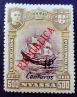 Nyassa 1921 Bateau Boat Surchargé Overprint REPUBLICA 12 Centavos Yvert 93 * MH - Nyassa