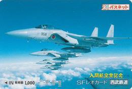 Carte Prépayée Japon - AVIATION - AVION MILITAIRE - MILITARY AIRPLANE - Japan Passnet Lion Card - 2223 - Avions