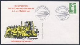 France Rep. Française 1991 Cover Brief Enveloppe - Bourreuse De Ballast / Gleisstopfmaschine / Ballast Tamping Machine - Treinen