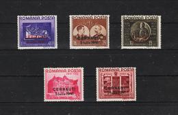 1941 - Fondation Carol Surcharges CERNAUTI  Mi No 691 I/695 I MNH - 1918-1948 Ferdinand, Carol II. & Mihai I.