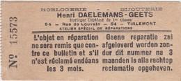 TIENEN-TIRLEMONT-HORLOGERIE-HENRI DAELEMANS-HORLOGER-RUE DE LOUVAIN-PETIT CARTE DE REPARATION+-4.5-10.5CM-VOYEZ  2 SCANS - Belgique