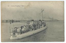 CPA Bateau Navire De Guerre Cuirassé Contre Torpilleur Belier - Guerre