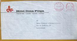 Franquia Mecânica Do Hotel Dona Filipa, Almansil, Algarve, Circulada 1970. Obliteration Of Hotel Dona Filipa.Tourism. - Hostelería - Horesca