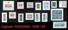 SVIZZERA - 1936 / 1984 - COLLEZIONE  Di 15 FOGLIETTI - Nuovi ** E Usati - Cat. 1022 € - Tutte Serie Complete - Blocchi & Foglietti
