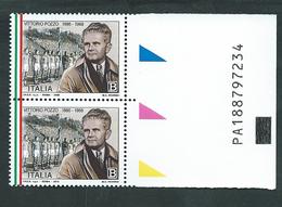 Italia 2011; Vittorio Pozzo: Coppia Con Codice Alfanumerico. - 6. 1946-.. Repubblica