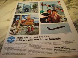 ANCIENNE PUBLICITE VOYAGE PAN AM VOL QUITTE PARIS  1966 - Publicités
