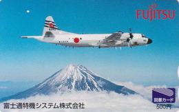 Carte Prépayée Japon - AVIATION - AVION MILITAIRE & MONT FUJI - MILITARY AIRPLANE - Japan Prepaid Tosho Card - 2229 - Avions