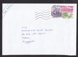 New Caledonia: Airmail Cover To Finland, 1995, 1 Stamp, Train, Steam Engine, Bridge, Railways, Transport (traces Of Use) - Nieuw-Caledonië