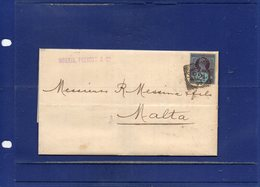 ##(DAN192)-POSTAL HISTORY-G.B. 1890 - Bend Letter With Full Text From London, Squared Cancel, To Malta - 1840-1901 (Regina Victoria)