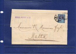 ##(DAN192)-POSTAL HISTORY-G.B. 1890 - Bend Letter With Full Text From London, Hexagonal Cancel, To Malta - 1840-1901 (Regina Victoria)