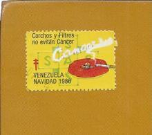 Pollution. Cancer. Tobacco. Tuberculosis. 1986 Venezuela Christmas Mail Vignette. Krebs. Tabak. Tuberkulose. TB. - Pollution