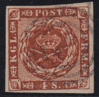 DANEMARK 1858-63:  Le 4 S. Brun, Oblitéré Chiffre '2' Dans 3 Cercles Concentriques - 1851-63 (Frederik VII)
