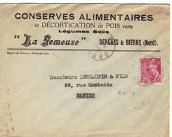 """Lettre De Bergues Avec En-tête""""conserves Alimentaires """"la Semeuse"""" Affr. Avec Mercure 70 C. - Postmark Collection (Covers)"""