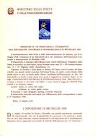 Italia Bollettino Illustrativo 1958 N° 40 Esposizione Bruxelles. - 1946-.. Republiek