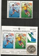 CHAMPIONS DU MONDE: URUGUAY 1930-1950. BRESIL 1958-1962-1970. Série + Bloc-feuillet Neufs ** Côte 20 Euro - Football