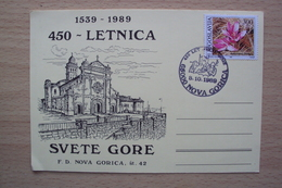 CARTOLINA JUGOSLAVIA SLOVENIA MONTE SANTO SVETE GORA NOVA GORICA 1989 450 LETNICA - Slovenia