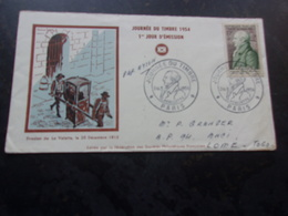 FRANCE (1954) Journée Du Timbre PARIS , LAVALETTE - FDC
