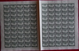 BELGIAN CONGO AIR 1934 ISSUE COB PA9 SHEET OF 100 MNH PLATE 1/2 - Feuilles Complètes