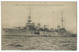 CPA Bateau Navire De Guerre Cuirassé Liberté Coulé En Rade De Toulon - Guerre