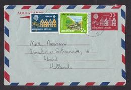 Netherlands Antilles: Stationery Aerogramme Aruba To Netherlands, 1980, 2 Extra Stamps, Heritage, Rare! (traces Of Use) - Curaçao, Nederlandse Antillen, Aruba