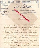 26- MONTELIMAR- RARE LETTRE MANUSCRITE A. PATIANT-PROPRIETAIRE GRAND CAFE DELHOSTE-BIERE POUSSET BILLARD-1914 - Ambachten
