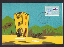 Netherlands Antilles: Maximum Card St Eustatius To St Maarten, 1965, 3 Stamps, Old Tower Building (traces Of Use) - Curaçao, Nederlandse Antillen, Aruba