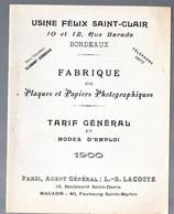 Bordeaux (33 Gironde) Tarif FELIX SAINT CLAIR 1900 Papiers Et Plaques Photographiques (PPP17129) - Advertising