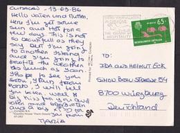 Netherlands Antilles: Picture Postcard Curacao To Germany, 1986, 1 Stamp, Flamingo Bird, Cancel Map (traces Of Use) - Curaçao, Nederlandse Antillen, Aruba
