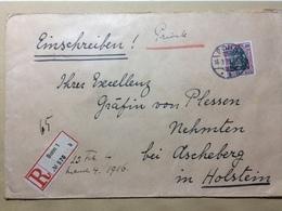 GERMANY - 1916 Cover Registered Bonn To Nehmten - Baron Von Plessen Coprs Borussian Bonn To His Excellency Grafin Von Pl - Deutschland