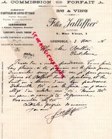 38- GRENOBLE- RARE LETTRE MANUSCRITE SIGNEE FELIX JALLIFIER-COURTIER VINS- 1 RUE VICAT -1908 - Old Professions