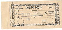 BON DE POSTE ANTÉRIEUR A 1900 - Chèques & Chèques De Voyage