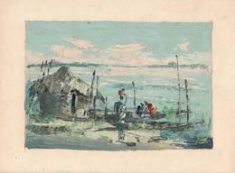 Peinture Africaine, Huile, Sur Papier Fort (180x240 Mm) - Art Africain