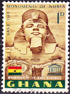 Ghana - Ramses II.; Außenfassade Des Großen Felsentempels, Abu Simbel (Mi.Nr.: 157) 1963 - Gest Used Obl. - Ghana (1957-...)