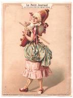 Grand Chromo, Vict. Trade Card. Le Petit Journal. Carnevale Ragazza Vestita Da Pulcinella. Carnaval Polichinelle. Minot - Chromos