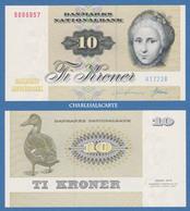 1972 DENMARK  10 KRONER  KRAUSE 48a  KIRCHOFF & DUCK/ CANARD UNC. CONDITION - Danemark
