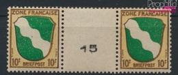 Franz. Zone-gem. Edition. 5ZW Paire Avec Interpanneau Neuf Avec Gomme Originale 1945 Crest (9282890 (9282890 - Zone Française