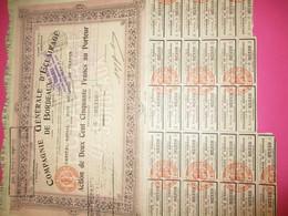 Action De 250 Francs  Au Porteur Entièrement Libérée /Compagnie Générale D'Eclairage De Bordeaux /BORDEAUX/1904   ACT232 - Electricité & Gaz