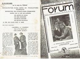 """LIEGE 1933 - Programme Cinéma LE FORUM En 2 Volets - LAUREL ET HARDY Dans """"Les Sans Souci"""" - Programmes"""