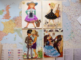 4 CARTES AVEC AJOUT DE TISSUS - Cartes Postales