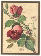 Grand Chromo, Victorian Trade Card. Au Bon Marché. Rose Rosse, Roses. Lemercier LM 6-3 - Au Bon Marché