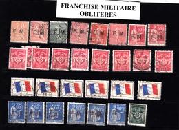 Petit Lot De Timbres De FRANCHISE MILITAIRE Oblitérés - Franchise Militaire (timbres)