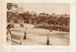 91Md   Madagascar Photo (16cm X 11cm) Cartonnée Antananarivo Match De Tennis à Antsahavola En 1903 - Madagascar