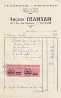 PETITE FACTURE LUCIEN TRANSAN  - PLOMBERIE ZINGUERIE  A TOULOUSE - FISCAUX SURCHARGES - France