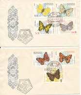Mongolia FDC 1-7-1963 Butterflies Complete Set Of 7 Stamps On 2 Covers With Cachet - Mongolia