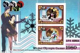 DPR Korea 1980 Sc. 1981a Olimpiadi Lake Placid Vincitori Medaglie Oro Pattinaggio Rodnina Zaitsev Linitschnuk Kar - Corea Del Nord