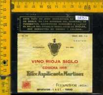 Etichetta Vino Liquore Rioja Siglo 1959 Fuenmayor-Spagna - Altri